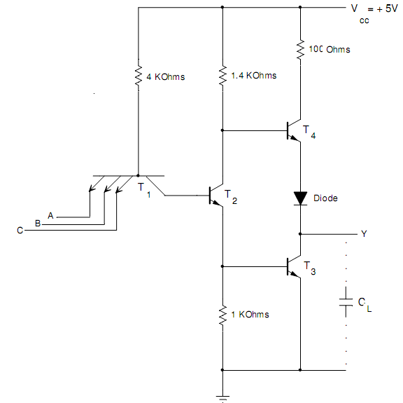 1437_Logic Diagram of TTL NAND Gate with Totem Pole Output.png
