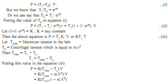 1647_Formula for maximum power transmitted by belt.png